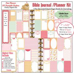 Bible Journalling Happy Planner Quick Pages 2 PDF Printables Fit Christian Stickers