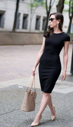 Felicity & Coco Petite Pencil Dress - Wellesley & King More Black Dress Outfits, Casual Dresses, Casual Outfits, Green Dress Outfit, Little Black Dress Outfit, Dress Attire, Emo Outfits, Casual Clothes, Work Clothes