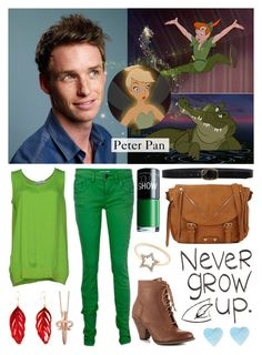 """Eddie Redmayne as Peter Pan - Battle of the Unofficial Disney Heroines & Princesses"" by cristianoronaldostar ❤ liked on Polyvore featuring Aurélie Bidermann, LeiVanKash, LO not EQUAL, Mojo Moxy, J.Crew, Linea Pelle, Maybelline and Call it SPRING"