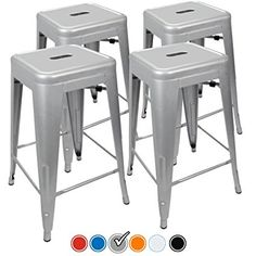 """Bar Stool - 24"""" Counter Height Bar Stools! (SILVER) by UrbanMod, [Set Of 4] Stackable, Indoor/Outdoor, Kitchen Bar Stools,! 330LB Limit, Metal Bar Stools! Industrial, Galvanized Steel, Counter Stools!"""