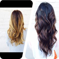 Before and after and just in time for fall ombre. This is a dark beautiful ombre for my brunette client. Fall hair color #ombre #sombre #longhair #longlayers #colormelting #blonde #haircolor #curls #beachwaves #fallombre #beforeandafter #makeover #transformation  #darkhairombre #darkombre #Atlanta #Buckhead Come see me in Atlanta for your hair!