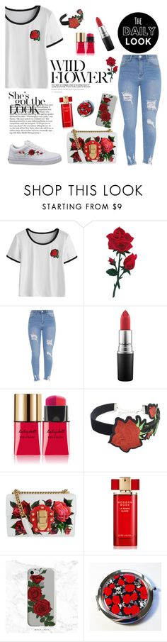 """""""Special Rose"""" by hogwarts4ever ❤ liked on Polyvore featuring MAC Cosmetics, Yves Saint Laurent, Mor, WithChic, Dolce&Gabbana and Estée Lauder"""
