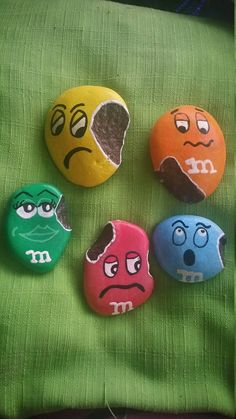 M&M Pals Painted Rocks Rock Buddies Home Decor Art Collectible Painted Rock Painted Stone Candy Painted Rock Play Kithen Food Rock Painting Patterns, Rock Painting Ideas Easy, Rock Painting Designs, Paint Designs, Rock Painting Kids, Pebble Painting, Pebble Art, Stone Painting, Painting Art