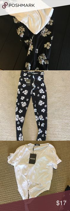 NWT Top and legging bundle Perfectly new-never worn. Comfy floral leggings and comfy front tie t-shirt Missguided Other