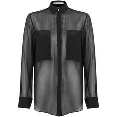 T by Alexander Wang Women's Silk Chiffon Long Sleeve Shirt - Black found on Polyvore