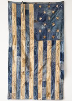 Custom-Made Vintage Patchwork Nautical Flag Blue Jean Quilts, Denim Quilts, Patchwork Jeans, Indigo, Flag Quilt, Patriotic Quilts, Nautical Flags, Star Spangled Banner, Vintage Cotton