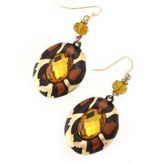 "Leopard Print Dangle Earrings; 2""L; Gold Metal; Leopard Print; Topaz Gemstones; Eileen's Collection. $16.99"