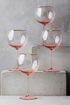 Anthropologie Gilded Rim Red Wine Glass Set