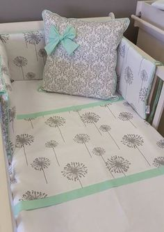 This combination of Mint and Grey is perfect for an elegant Girls nursery, with Dandelions and Damask. Dandelion Nursery, Nursing Chair, Elegant Girl, Girl Themes, Floral Theme, Nursery Furniture, Nursery Themes, Baby Essentials, Bedding Collections