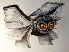 3-D paper bender Owl Wings, Owl Books, Monster Concept Art, What Image, Book Tattoo, Gold Work, Owl Art, Body Art Tattoos, Surrealism
