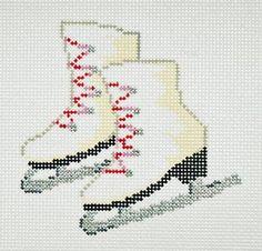 Needlepoint Handpainted SANDRA GILMORE Christmas ORNAMENT Skates Ice Skates