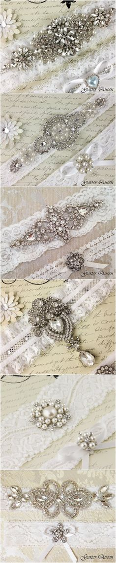 Ivory Lace Wedding Garter Sets / http://www.deerpearlflowers.com/wedding-garters-sets-from-etsy/3/