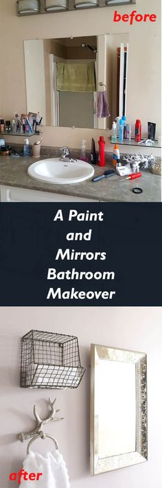 Budget Friendly Bathroom Makeover Ideas - Paint and mirrors and decor can go a long way when transforming a bathroom on a small budget! via @hometoheather
