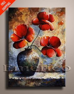 Red POPPIES 03 Palette Knife Painting Contemporary Fine Art Still Life Painting EMERICO TOTH Wall hanging Free Shipping