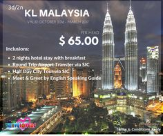 3D2N KUALA LUMPUR MALAYSIA TOUR USD 65.00 per Head Valid October 2016 – March 2017  Inclusions: -2 Nights hotel stay with Breakfast -Round Trip Airport Transfer via SIC -Half Day City Tour via SIC -Meet & Greet by English Speaking Guide #kualalumpur #malaysia #promopackage #promotour #tourpackage #kuala #klmalaysia