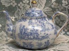 Blue Toile Teapot in a countryside pattern