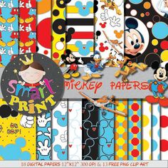 Digital Papers Mickey Mouse-Free Clip Art-Blue-Red-Yellow-Scrapbook supplies-Birthday Party-Invitation-Background.         October 01, 2015 at 03:51PM
