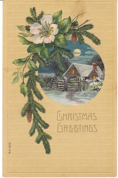 Rustic Cabin Vintage Christmas Postcard by BirdhouseBooks on Etsy