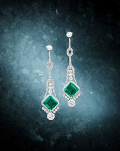 An Early 20th Century Pair of Fine Emerald and Diamond Pendent Earrings, Circa 1920 Rare Jewels and Jadeite sale, November 26, Hong Kong