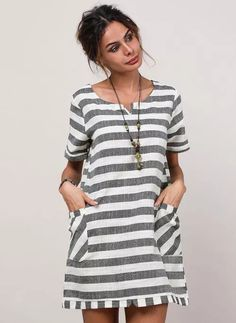 Stripe None Round Neckline Above Knee Shift, Dress - Gray / XS Spring Dresses, Day Dresses, Short Sleeve Dresses, Striped Shorts, Striped Dress, Gray Dress, Latest Fashion Trends, Floral, Neckline