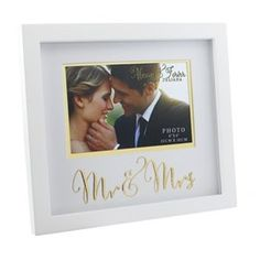 Widdop MDF Frame with Gold Words Mr & Mrs 6x4 0217