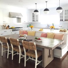 32 Popular Kitchen Island With Seating Ideas - After many years with the same kitchen layout, you probably want to make some changes for a fresher look. There are many ways to do this and kitchen i. Home Decor Kitchen, Kitchen Interior, New Kitchen, Kitchen Ideas, Kitchen Designs, Coastal Interior, Eclectic Kitchen, Awesome Kitchen, Kitchen Trends