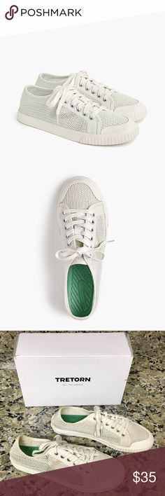 J. Crew Tretorn Tournament Net Sneakers These lightweight, breathable mesh shoes have insoles that gently massage your feet, so they're not only cool, they're actually incredibly comfortable!  • I wore these maybe 5-6 times but realized they were too small and had to get a size 9. A lot of wear left! • These are incredibly comfortable! Can be worn with dresses, jeans, shorts...they go with everything!  • Cotton mesh upper • EVA insole • Rubber sole • Will come with the box • Refer to…