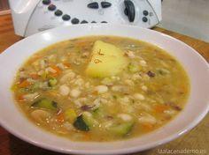 Olleta con verduras y morcilla de cebolla con Thermomix. Preparar plato caliente de cuchara que se prepara en un momento, mientras te haces un aperitivo.