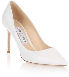 d4294d02287 White leather pump from Jimmy Choo. The Romy has an 85mm heel