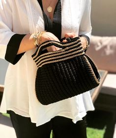 Black Barrel crochet bag Small in size full of character 🖤 Shop it now Crotchet Bags, Knitted Bags, Crochet Handbags, Crochet Purses, Barrel Bag, Macrame Bag, Small Bags, Knit Crochet, Knitting