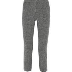 Theory Cotton-bouclé tapered pants ($150) ❤ liked on Polyvore featuring pants, midnight blue, peg-leg pants, highwaist pants, high waisted tapered trousers, theory trousers and high-waisted pants