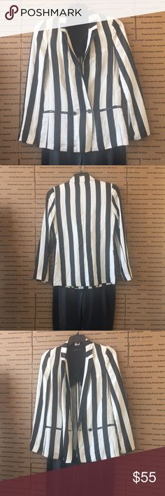 9e2280279e3b99 Black and white Strip Zara Suit Jacket Lovely fashionable suit jacket/ Just  marked down 1