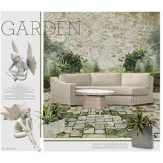 Juliet's Garden by beebeely-look on Polyvore featuring interior, interiors, interior design, home, home decor, interior decorating, Restoration Hardware, John-Richard, Nearly Natural and garden