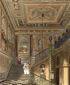 The Great Staircase at Kensington Palace in London, England. - It has been a residence of the British Royal Family since the 17th century, and is the official London residence of the Duke and Duchess of Cambridge
