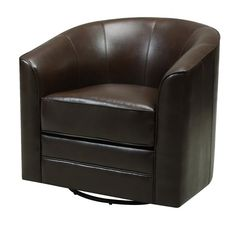 Emerald Home Milo Brown Accent Chair with Faux Leather Upholstery, Welt Trim, And Curved Back - Nice product and looks to be quality made.This Emerald Home Furn Leather Swivel Chair, Swivel Barrel Chair, Swivel Armchair, Chair And Ottoman, Sofa Chair, Chair Upholstery, Upholstered Dining Chairs, Dining Chair Set, Dining Sets