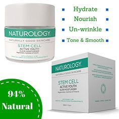 Naturology Made in the UK - Natural Anti-Ageing Stem Cell Active Daily Moisturiser. 94% *Natural & Organic* Revitalise Your Skin, With This Unique Blend Of Antioxidents, Anti-inflammatories, & Hydrators Specifically Formulated To Restore Moisture, Smooth Your Complexion & Infuse Your Skin With With Essential Nutrients & Oils For Increased Firmness Leading To A More Youthful Looking You! Containing Hibiscus (the Botox plant) A Natural Source of AHA's to Improve Flexibility & E