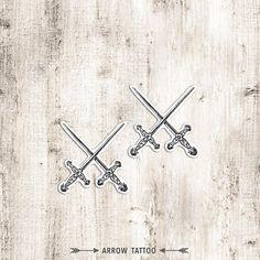 Lot de 2 tatouage temporaire épées Vintage motif par ArrowTattoo
