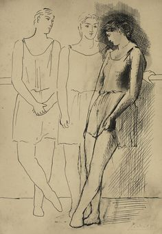 Artwork by Pablo Picasso, Trois danseuses, Made of pen and India ink on paper Pablo Picasso, Picasso Rose Period, X Picture, How To Make Drawing, India Ink, Impressionist Art, Real Beauty, Banksy, Ancient Art