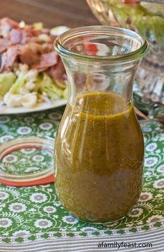 Greek Salad Dressing - 2 tsp garlic + 2 tsp dry basil + 1 tsp salt + 1 tsp black pepper + ¼ tsp onion powder + 1 tsp dry oregano + 1 tsp sugar + 1/4 tsp dry mint + 2 tbsp lemon juice +2 tbsp red wine vinegar + 2 tbsp water + 1 tsp Dijon mustard + 1 cup olive oil by lila