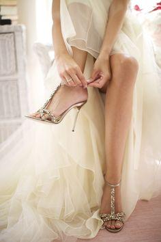 Jimmy Choo bridal shoes! Photo by Sarah DiCicco | via junebugweddings.com