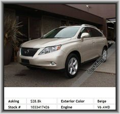 2011 Lexus RX 350 Base SUV  Strut Front Suspension, Mp3 Player, Rear Area Cargo Cover: Roll-Up, Split Rear Bench, Four-Wheel Independent Suspension, Vehicle Emissions: Ulev Ii, Bucket Front Seats, Privacy Glass: Deep, Suspension Class: Regular, Digital Audio Input, Overall Height: 66.3, Overall Length: 187.8, Leather/Chrome Shift Knob Trim, Tachometer, Headlights Off Auto Delay, 4-Wheel Abs Brakes, Front And Rear Reading Lights, Door Reinforcement: Side-Impact Door Beam