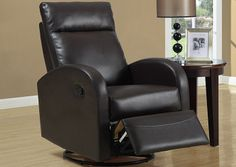 Monarch 8080BR - Dark Brown Bonded Leather Swivel Rocker Recliner | Sale Price: $435.00