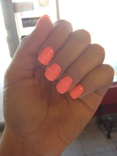 Bright, Summer nail Colour on my acrylics. Pretty!
