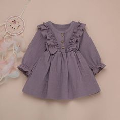 Purple Baby Toddler Ruffles Long Sleeve Cute A Line Dress - 4 5 YEARS Source by maykalakids dresses Baby Girl Dress Patterns, Baby Dress Design, Frock Design, Dresses Kids Girl, Kids Outfits, Cute Baby Dresses, Kids Frocks Design, Baby Frocks Designs, Fashion Kids