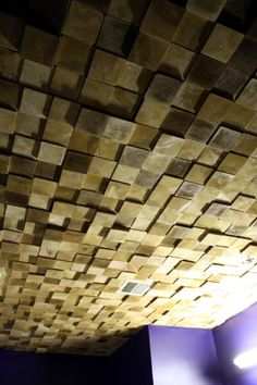 Wooden ceiling. LOVE that they're uneven and funky. Would be cool in Cal's room.