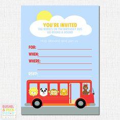 Bus Invitation Bus Birthday Invitation Wheels On The Bus