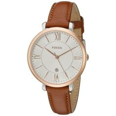 womens gold watches cheap, big watches womens, gold womens watches sale - Fossil Women's ES3842 'Jacqueline' Brown Leather Watch