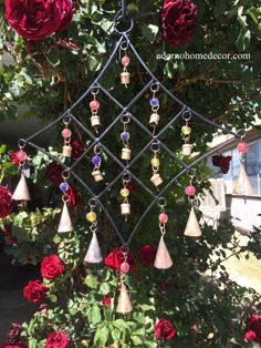 This rustic iron diamond wind chime will bring delight all year round. Wind chimes make perfect gifts for any occasion, and are as beautiful as they are harmonious. Diy Wind Chimes, Dream Catcher, Christmas Tree, Iron, Rustic, Beads, Diamond, Holiday Decor, Crafts