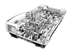 1968-69 McLaren M8A - Illustrated by Brian Hatton