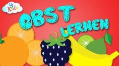 Obst, Früchte lernen für Kinder. Buntes Obst lernen durch vorsprechen au...